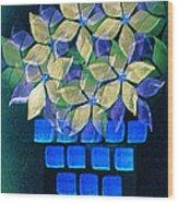 Blue Flower Pot Wood Print