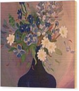 Blue Flowers 2 Wood Print