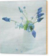 Blue Flowers In White Jug Wood Print by Jill Ferry
