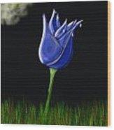 Blue Flowers Wood Print
