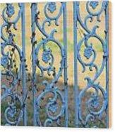 Blue Gate Swirls Wood Print
