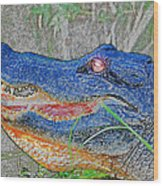 Blue Gator Wood Print