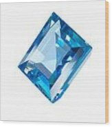 Blue Gem Isolated Wood Print by Atiketta Sangasaeng