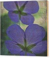 Blue Geranium Wood Print