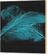 Blue Ghost On Black Wood Print