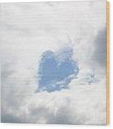 Blue Heart In Sky Wood Print