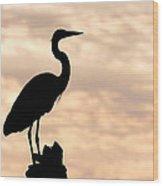 Blue Heron Silhouette Wood Print