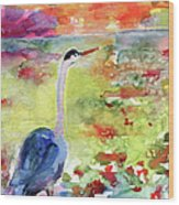 Blue Heron Sunset Watercolor By Ginette Wood Print by Ginette Callaway