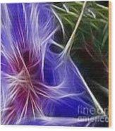 Blue Hibiscus Fractal Panel 1 Wood Print