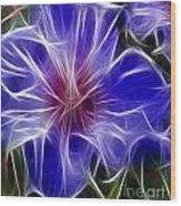 Blue Hibiscus Fractal Panel 3 Wood Print by Peter Piatt
