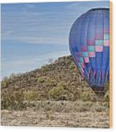 Blue Hot Air Balloon On The Desert  Wood Print