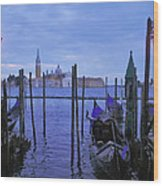 Blue Hour At The Docks Of San Marco Wood Print
