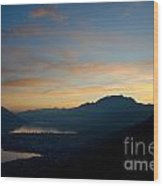 Blue Hour Over The Mountain Wood Print
