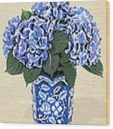 Blue Hydrangeas In A Pot On Parchment Paper Wood Print