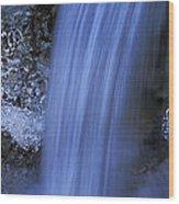 Blue Icy Waterfall Wood Print