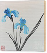 Blue Iris I Wood Print