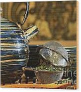 Blue Japanese Teapot Wood Print by Sandra Cunningham
