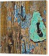 Blue Keyhole Wood Print