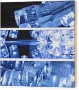 Blue Led Lights In Three Strips Wood Print