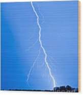 Blue Lightning Wood Print