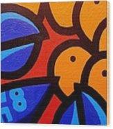 Blue Lobster And Oranges Wood Print