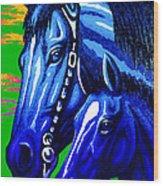 Blue Madonna And Child Wood Print