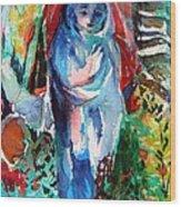 Blue Madonna Wood Print