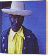 Blue Man With Yellow Hat And Shirt Wood Print