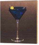 Blue Martini Wood Print