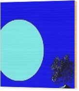 Blue Moon And Tree Wood Print