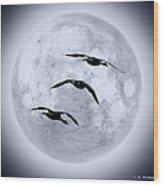 Blue Moon Geese Wood Print