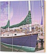 Blue Moon Harbor II Wood Print by Betsy Knapp