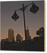 Blue Moon Over Downtown Providence 1 Wood Print