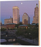 Blue Moon Over Downtown Providence 2 Wood Print