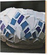 Blue Mosaic Bowl Wood Print by Ghazel Rashid