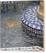 Blue Mosaic Fountain I Wood Print
