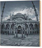 Blue Mosque Courtyard Wood Print
