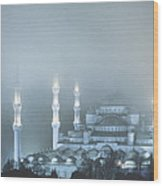 Blue Mosque In Blue Mist Wood Print
