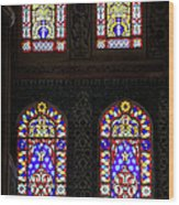 Blue Mosque Stained Glass Windows Wood Print