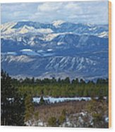 Blue Mountain View Wood Print