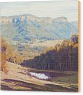 Blue Mountains Paintings Wood Print