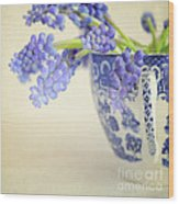 Blue Muscari Flowers In Blue And White China Cup Wood Print