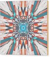 Blue Orange Kaleidoscope Wood Print