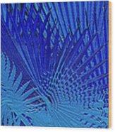 Blue Palms Wood Print