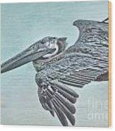 Blue Pelican Wood Print