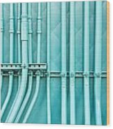 Blue Pipes Wood Print by Tom Gowanlock
