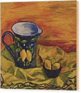 Blue Pitcher With Lemons Wood Print
