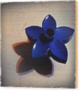Blue Plastic Flower Wood Print