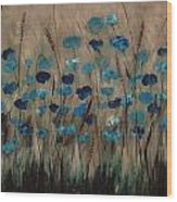 Blue Poppies And Gold Wheat Wood Print