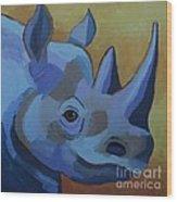 Blue Rhino Wood Print